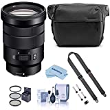 Sony E PZ 18-105mm F4.0 G OSS E-Mount Lens, Bundle with Bag, Strap & Accessories