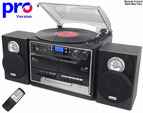 Steepletone BT-SMC386r PRO, 8 in 1 Bluetooth Retro Nostalgic Music System (Stereo Speakers), Remote Control, 3 Speed Record Player, CD Player, FM/MW Radio, TWIN Cassette, SD/USB RECORDING - Black