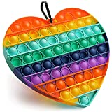 WALLFIA Big Size Jumbo Push Pop Bubbles Fidget Toy, Stress Reliever Silicone Sensory Toy, for Autistic Kids Anxiety Adults Rainbow Color, 7.87 Inch (Heart-Shaped)
