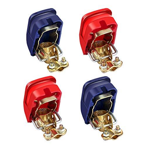 4x Autobatterie Schnellspanner Batterieclip Rot (+) und Blau (-) Batterieclip Anschluss für 12V Batterie Autos Motorräder Boote (2 Paare)