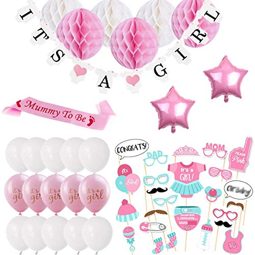 DANXIAN Babyparty Deko Mädchen, Baby Shower Party Deko It's A Girl Girlande, 6pcs Wabenbälle, Mummy to Be Schärpe, Fotorequisiten Masken, Konfetti Babyparty, 10pcs Luftballons