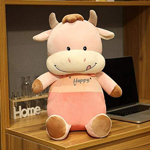 XIAN Peluche de ganado suave de dibujos animados de vaca de peluche para decoración del hogar, cojín de almohada para niños, regalo de cumpleaños de 35 cm a granizo (color: A, tamaño: 45 cm)