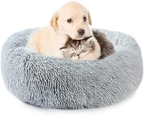 Cuccia in peluche a ciambella, cuccia per cuccioli con nido rotondo per gatti, divano per cuccioli, cuscino per gatti, sacco a pelo, sollievo ortopedico, fondo antiscivolo, letto rotondo calmante per
