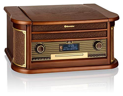 Roadstar HIF-1996D+BT Retro-Musikanlage mit DAB-Radio und Plattenspieler (DAB+, CD / MP3-Player, Kassette, Bluetooth, USB, AUX-In, Encoding-Funktion, 40 Watt Musikleistung, Kopfhöreranschluss, Holzgeh