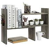 MyGift Vintage Gray Solid Wood Adjustable Desktop Bookcase Corner Shelf Display Rack with 3 Hanger Hooks