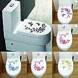 BLOUR PVC Abnehmbarer Toilettendeckelaufkleber Schmetterlings- und Blumenmuster Toilettensitzbezug Wandaufkleber Posteraufkleber