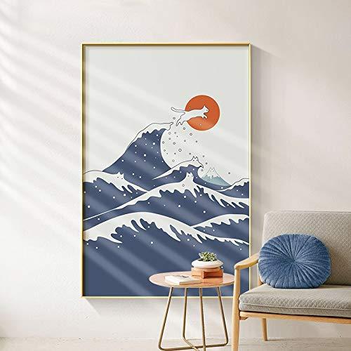 wZUN Nórdico Abstracto Creativo Paisaje de montaña Lienzo Pintura Gato Tema Arte Impresiones y póster Cuadros de Pared 60X90 Sin Marco