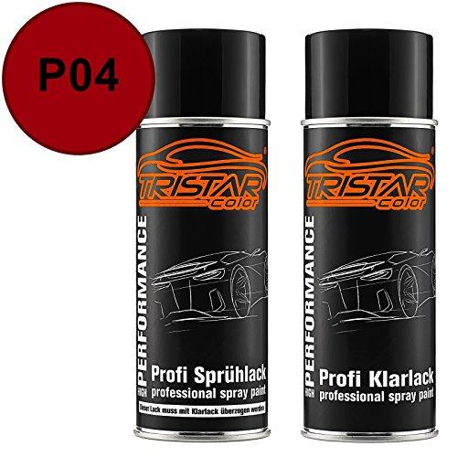 TRISTARcolor Autolack Spraydosen Set für Mitsubishi P04 New Red/Amazon Rot Basislack Klarlack Sprühdose 400ml