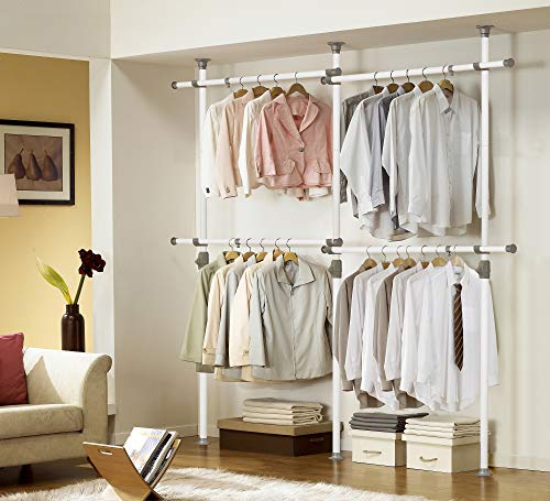 PRINCE HANGER, One Touch Double 2 Tier Adjustable Hanger, Holds 80kg(176LB) per Horizontal bar, Clothing Rack, Closet Organizer,38mm Vertical Pole, Heavy Duty, Garment Rack, PHUS-0033, Made in Korea