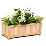 "Giantex Raised Flower Planter Box Portable Folding Vegetable Patio Lawn Garden Backyard Elevated Outdoor Wood Planter Boxes, 27.5"" Lx12 Wx10 H(Natural Rectangle)"