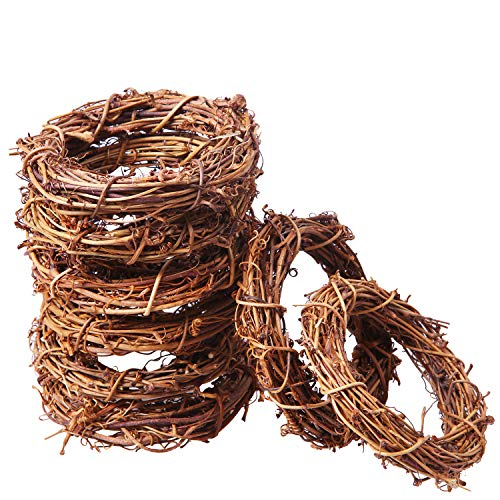 Ruisita 16 Pieces Grapevine Wreaths Vine Branch Wreath Christmas Rattan Wreath Garland Decoration for Christmas Holiday Craft or Wedding Supplies (16, 4 inches)
