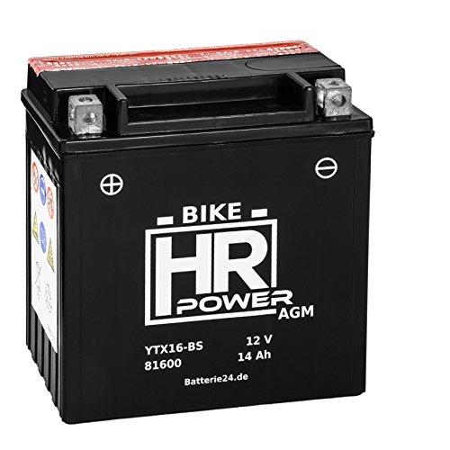 AGM Motorrad Batterie Starterbatterie 12V 14Ah YTX16-BS 81600 wartungsfrei