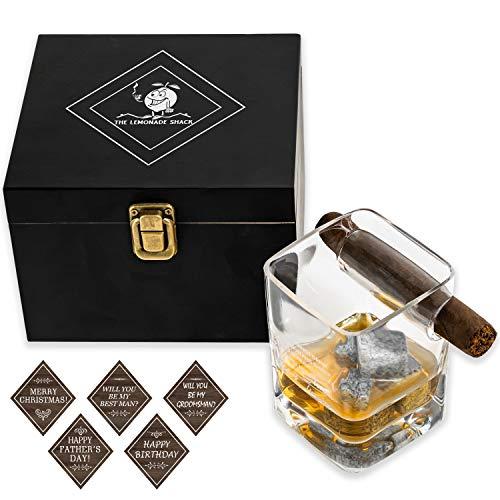 Cigar and Whiskey Set - Mark Twain Engraved Cigar Whiskey Glass   Whiskey Glass with Cigar Holder and 4 Whiskey Stones   Wooden Cigar Glass Holder Box for Gifts and Display   Whiskey Cigar Glass