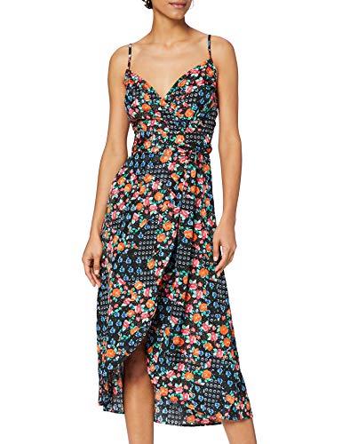 Marca Amazon - find. Vestido Midi Cruzado Mujer, Negro (Black), 38, Label: S