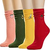 Socks Womens Socks Crew Socks Long Socks Cotton Christmas Gift for Women Funny Novelty Cartoon Cute Fashion Knit Winter Socks PackFS-4 Pairs Fruit