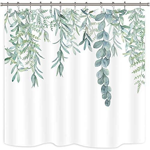 Cortina de ducha con hojas verdes, de 36 x 72 cm, color verde salvia, decoración de baño, acuarela de primavera estrecha, plantas botánicas, tela a prueba de agua, decoración de la bañera del hogar