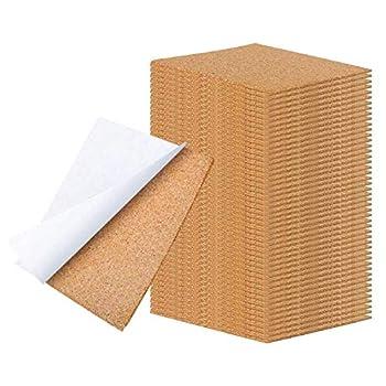 WANBAO 4 x 4 Inch Self Adhesive Cork Squares 100 MM Backing Cork Tiles Sheets for Coasters and DIY Crafts 40 Pcs.