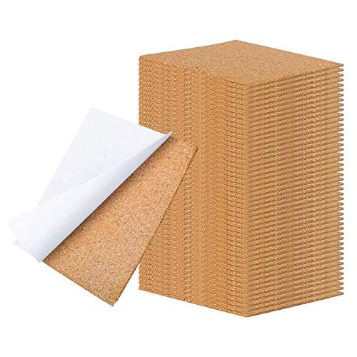 WANBAO 4 x 4 Inch Self Adhesive Cork Squares 100 MM Backing Cork Tiles Sheets for Coasters and DIY Crafts, 40 Pcs.