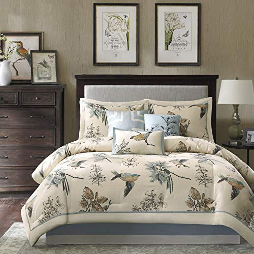 Madison Park Cozy Comforter Nature Scenery Design All Season, Matching Bed Skirt, Decorative Pillows, Queen(90