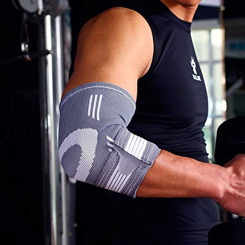 Ellenbogen-Bandage mit Zugband zur Stabilisierung und Entlastung - Grau