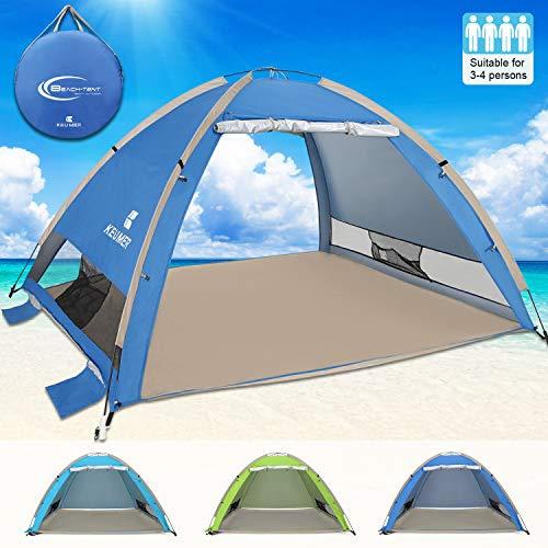 G4Free Large Pop Up Beach Tent 3-4 Person Sun Shelter Portable Automatic Cabana UPF 50+ Anti UV Sun Shade(Sapphire)