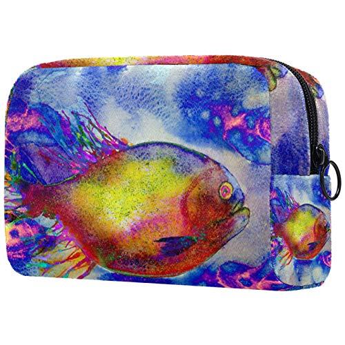 Kosmetiktaschen für Frauen, Schminktaschen Geräumige Kulturbeutel Reiseaccessoires Geschenke - Art Abstract Bunter Fisch