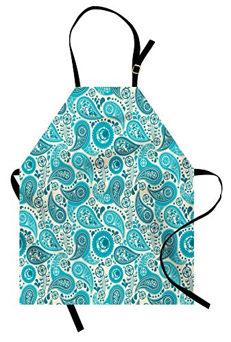 Ambesonne Turquoise Apron, Paisley Pattern Antique Floral Pattern Ornaments Classical Middle Eastern, Unisex Kitchen Bib with Adjustable Neck for Cooking Gardening, Adult Size, Teal Aqua