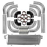28'x7'x2.5' Universal Turbo Intercooler with Front Mount Intercooler + 2.5' 12 Pcs Aluminum Bent Pipes + 8pcs Straight Couplers + 4pcs 90 Degrees Elbow Couplers + 24pcs T-Bolt Clamps