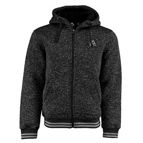 Reebok Herren Sweatjacke Fleece Active, Herren, Fleecejacke, Sweater Fleece Active Jacket, Bedruckte Details auf der Kapuze Black Heather, X-Large