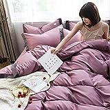Individual Funda de edredón y Funda,Nordic Feng Shui Wash Silk Skin y cómodo kit de ropa de cama de cuatro piezas es manga de una sola almohada estudiante dormitorio anti-fruta anti-arrugas-A_1,8 m d