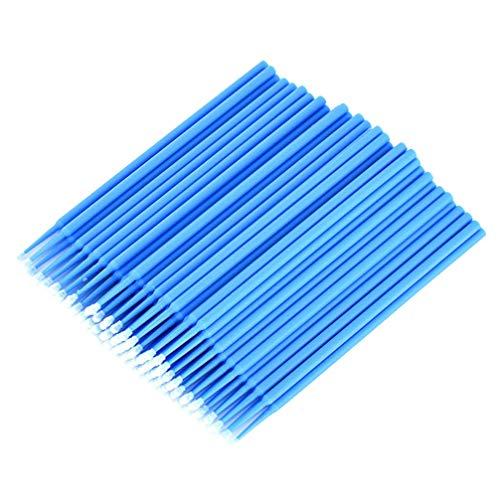 EXCEART 100Pcs Micro Brosses Jetables Extension de Cils Pinceaux Applicateurs de Maquillage Tube de Coton-Tige Cosmétique pour Femmes Dames (Bleu)