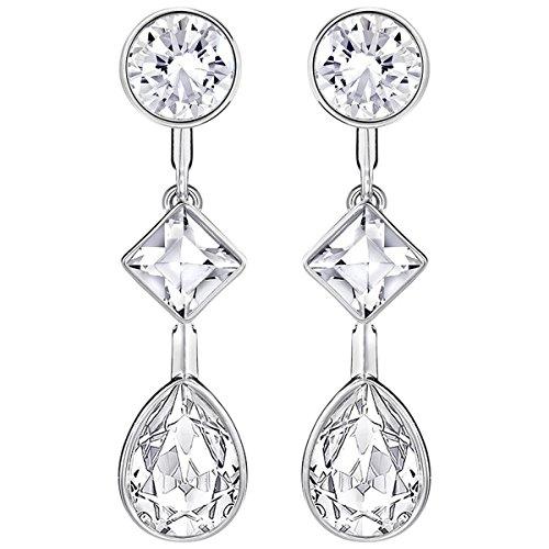 Swarovski Damen-Durchzieh Ohrringe Platiniert Kristall transparent Tropfenschliff-5226451