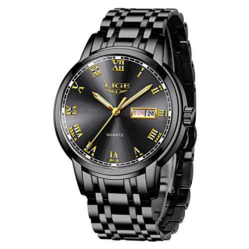 LIGE Uhren Herren Mode Schwarz Edelstahl Quarz Uhr Männer Datum Kalender Wasserdicht Sport Armbanduhr