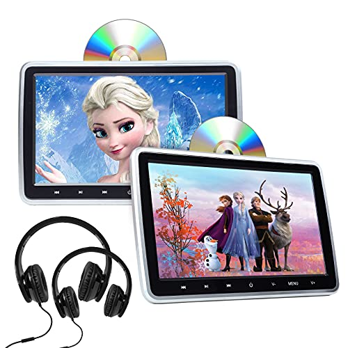 2021 Newest Headrest DVD Player Car DVD Player 10.1'' Dual Car DVD Players with 2 Headphones Eonon C1100A for Kids Support Same/Different Video Playing/AV Out & in HDMI USB SD Port Touch Button-C1101A