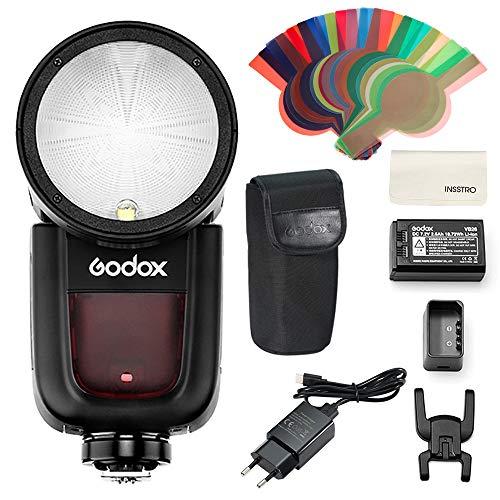 Godox V1F Kamerablitz 76Ws, TTL-Automatikblitz 2.4G R&kopfblitzgerät, HSS 1/8000, 1,5s Recyclingzeit, 2600mAh Lithiumbatterie, LED-Modellierlampe für Fujifilm-Kamera