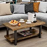 Knowlife Rustic Natural Coffee Table Rectangle Pine Wood End Table with Storage Shelf for Living Room, Easy Assembly,Square