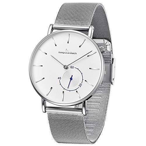 MICGIGI Reloj de cuarzo analógico impermeable ultrafino para hombre Relojes de pulsera de malla de acero inoxidable