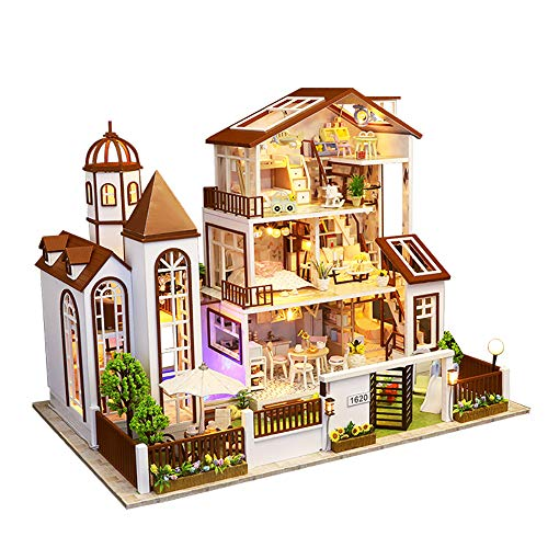 CYL Handmade Miniature Dollhouse 3D Wooden Puzzles Warm Large Villa Dolls House Model with LED Furniture Kits Music Box Best Gift for Lover Children Friends