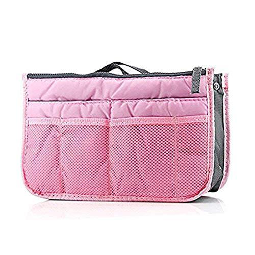 SUAVER Multi-Funktions Handtasche Organizer Tasche Veranstalter liner ordentlich reise beutel tasche kosmetik tasche fügen sie 13 taschen große veranstalter einfügen handtasche mit henkel (Rosa)