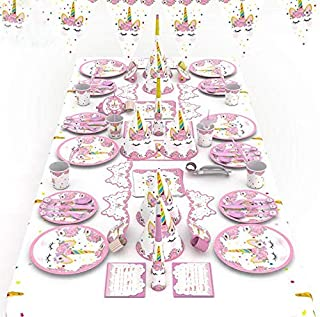 90pcs/set Pink Unicorn Theme Party Disposable Tableware Set Decoration Supplies Banner Hats mask Tablecloth Plates Bowouts Decoration Paper For Children Kids Favor Birthday Decoration Props