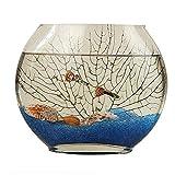 MUMUCW Claro Burbuja Cuenco de Cristal del florero, Creativo Plana Boca de los Pescados el Bol de Vidrio Oval florero (Size : 35)