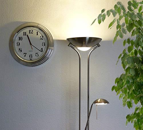 Dapo Steh-Leuchte-Lampe mit Leseleuchte OKKO Halogen-Decken-Flur-Fluter-Strahler-Stand-Leuchte-Lampe-Fluter 230V 28Watt Nickel