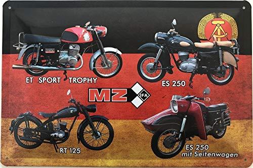 Deko7 blikken bord 30 x 20 cm DDR motorfiets MZ 4 modellen Duitsland