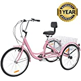Slsy Adult Tricycles 7 Speed, Adult Trikes 20/24 / 26 inch 3 Wheel Bikes, Three-Wheeled Bicycles Cruise Trike with Shopping Basket for Seniors, Women, Men. (Pink, 24' Wheels/ 7-Speed)