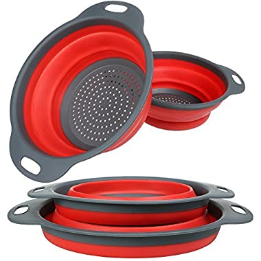 Colander Set, Food Grade Silicone Kitchen Strainer Set of 2-11.5  and 9.7  Size Folding Strainer with Steady Base, BPA Free, Dishwasher-Safe for Draining Pasta, Vegetable, Fruit (Green&Red)