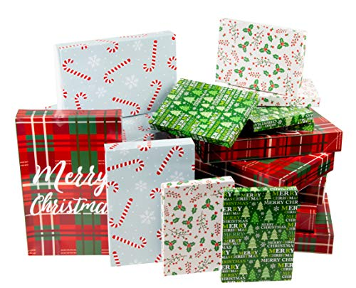 Gift Wrapping Paper Boxes with Lids for Christmas Presents (3 Sizes, 4 Designs)