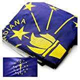 VSVO Indiana Flag 3x5ft. with Double Sided Embroidered UV Protected, Long Lasting Nylon US in Flag