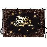MEHOFOTO - Fondo negro para fotos con diseño de purpurina y lunares dorados, con texto en inglés Happy Birthday, para cumpleaños, 2 x 1,5 m