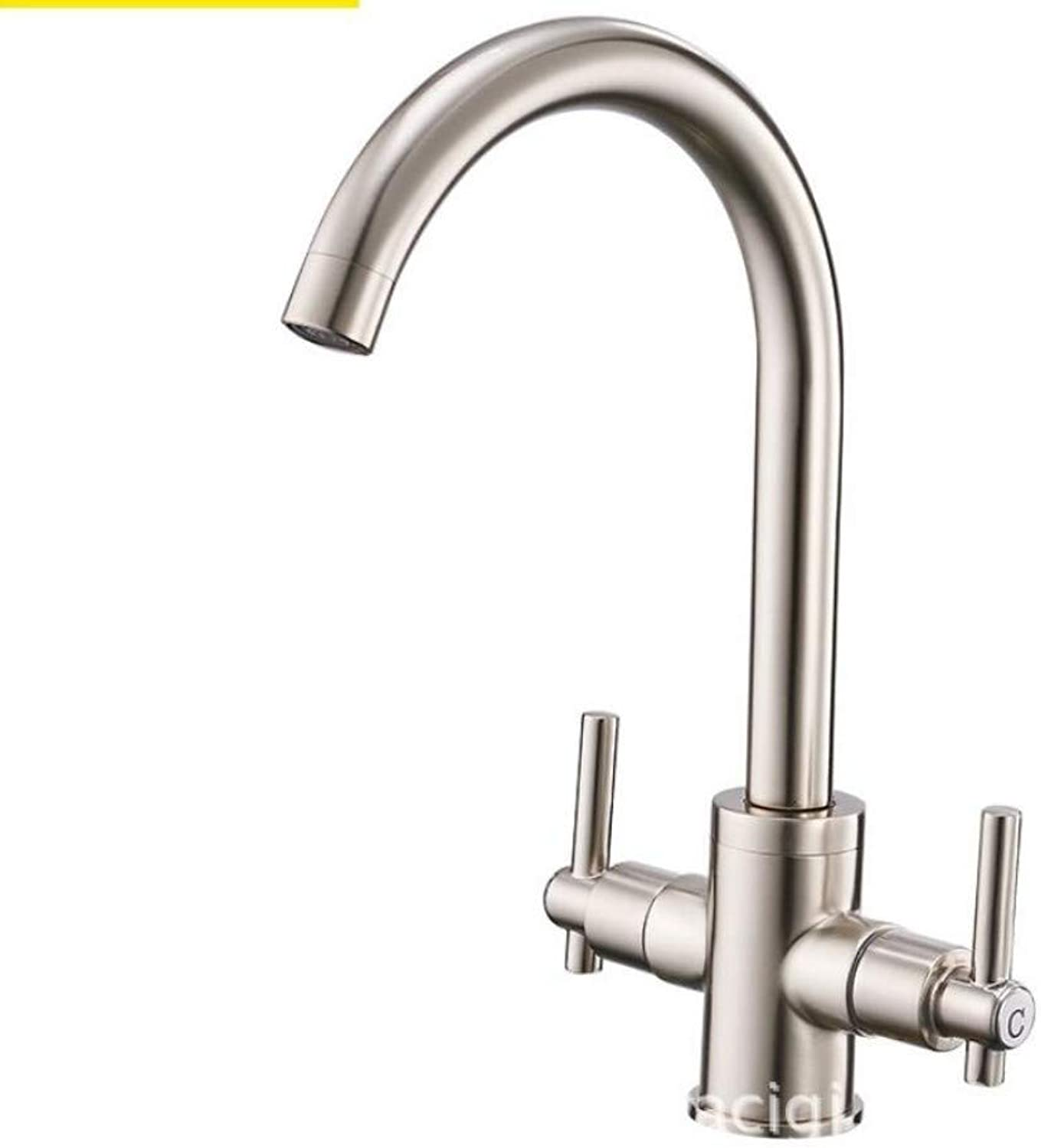 Bathroom Sink Basin Lever Mixer Tap Double Handle Double Open Kitchen Hot and Cold Faucet Brushed Sink Faucet