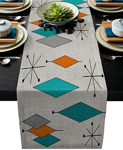 Gray Cotton Linen Table Runner Dresser Scarg Retro Modern Mid Century Geometric Non-Slip Burlap Rectangle Table Setting Decor for Farmhouse Kitchen Home Dining ,Holiday, Extra Long 13 x108 inch